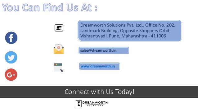 Connect with Us Today! Dreamworth Solutions Pvt. Ltd., Office No. 202, Landmark Building, Opposite Shoppers Orbit, Vishran...