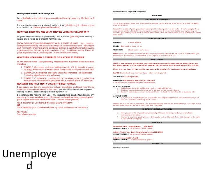 Unemployment Resume Unitedijawstatescom