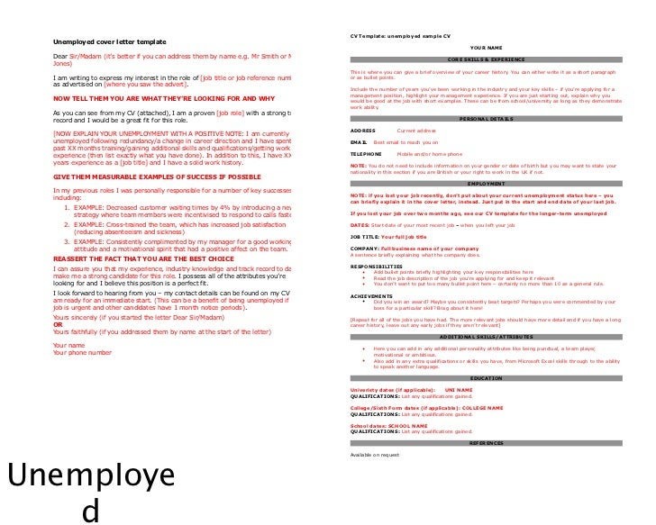 cv template unemployed sample cv unemployed cover letter - Resume Cover Letter Unemployed