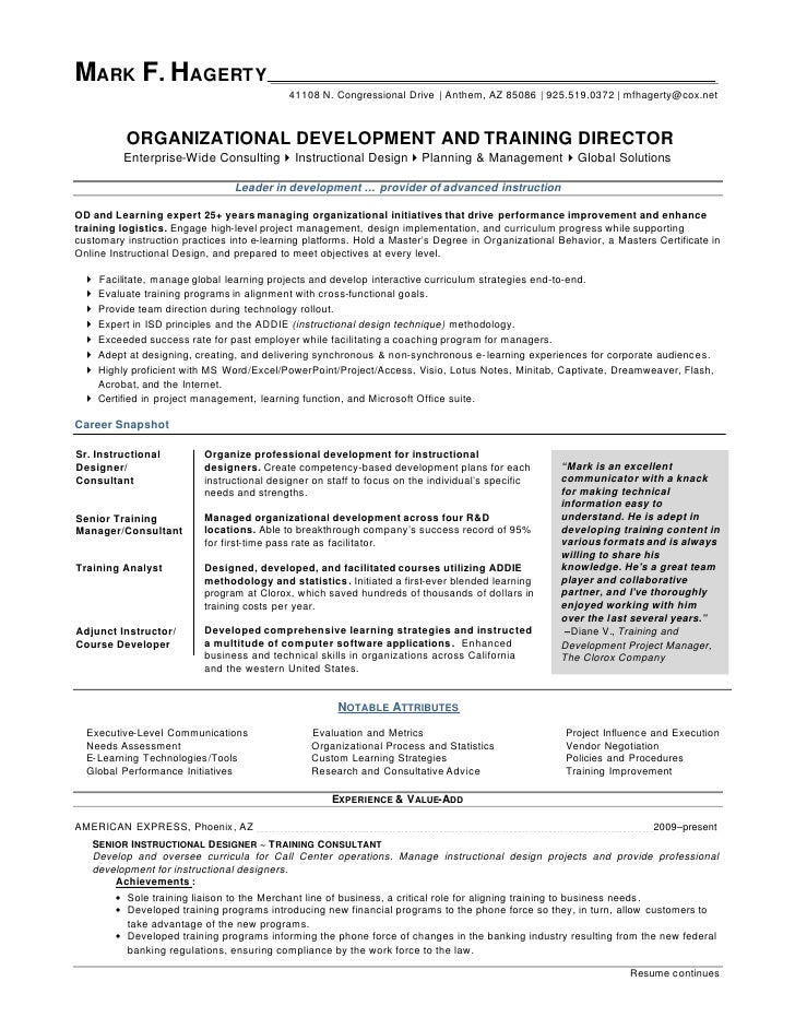 Sample Resume Organizational Development Specialist