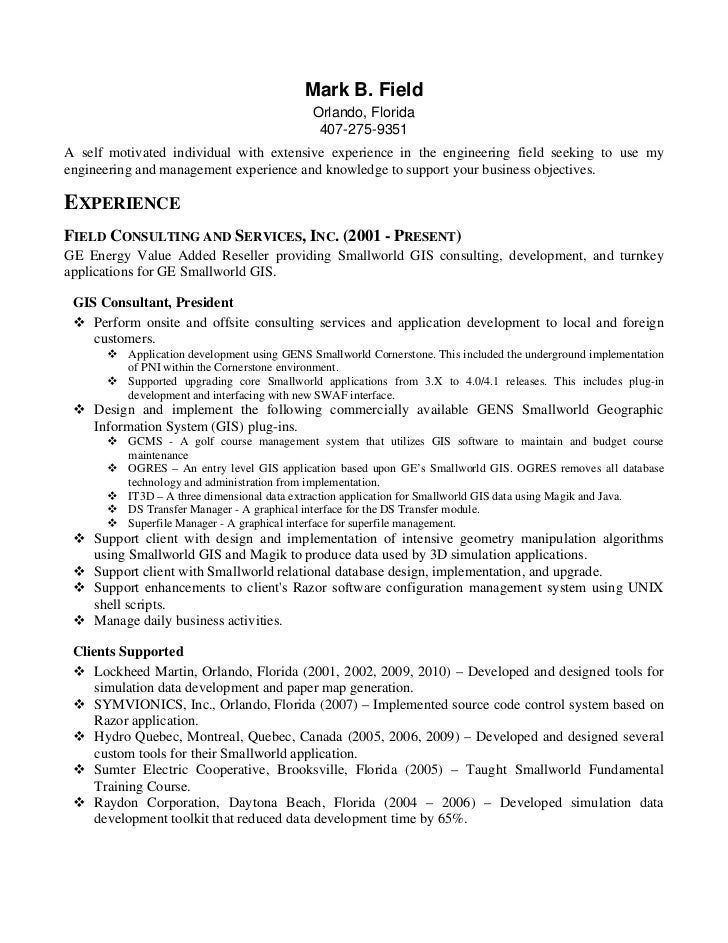 mark b field. Resume Example. Resume CV Cover Letter