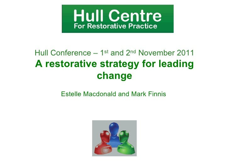 Hull Conference – 1st and 2nd November 2011A restorative strategy for leading             change       Estelle Macdonald a...