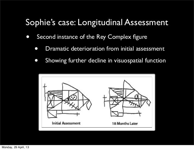 Sophie's case: Longitudinal Assessment• Second instance of the Rey Complex figure• Dramatic deterioration from initial asse...