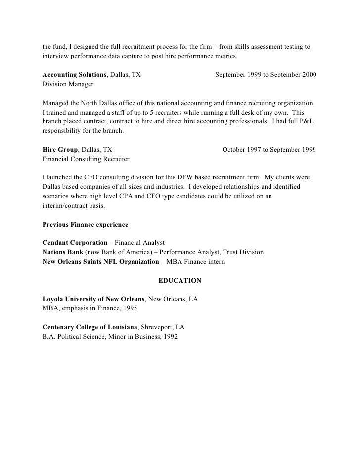 recruiter sample resumes
