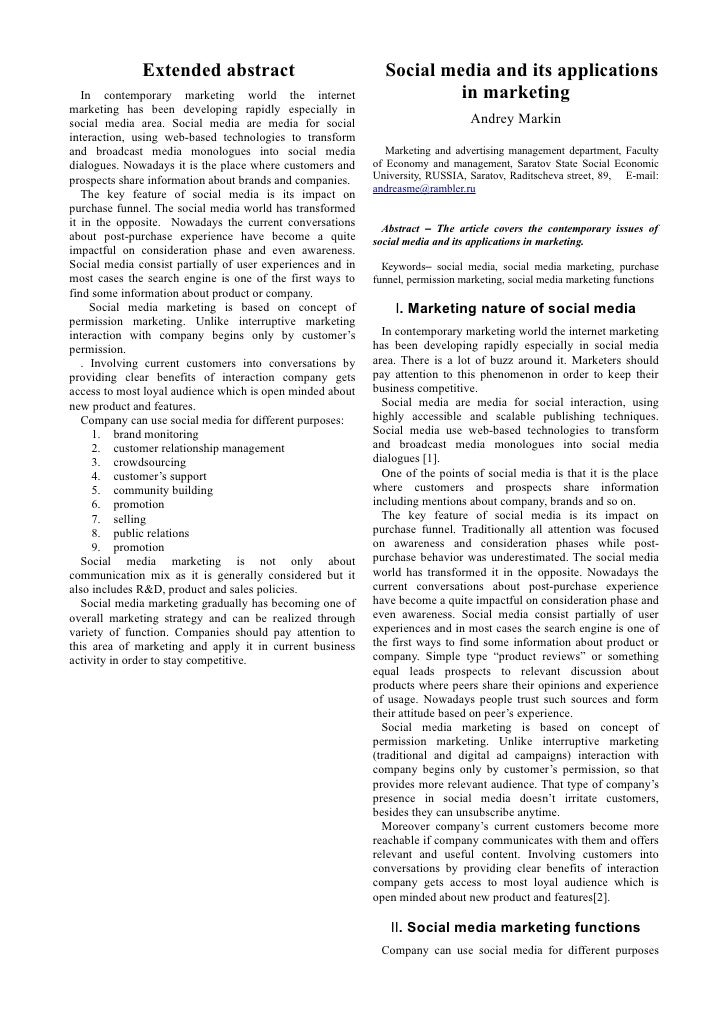 Extended abstract                               Social media and its applications    In contemporary marketing world the i...