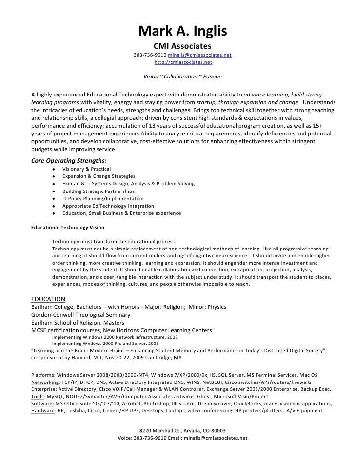 Mark Inglis Ed Tech Resume