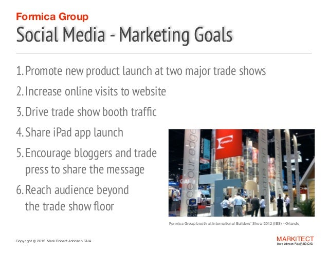 Formica Group  Social Media - Marketing Goals 1. Promote new product launch at two major trade shows 2. Increase online vi...