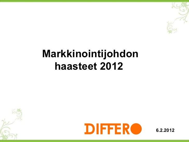 Markkinointijohdon haasteet 2012  6.2.2012