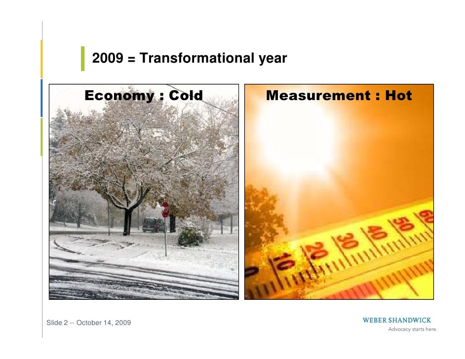 2009 = Transformational year              Economy : Cold            Measurement : Hot     Slide 2 -- October 14, 2009