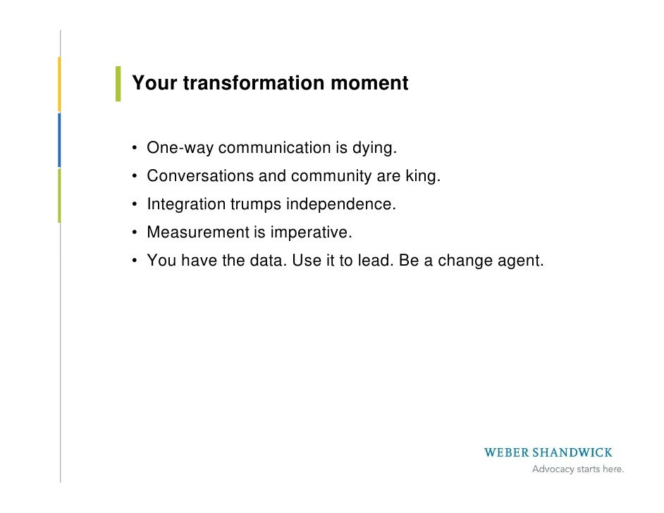 Your transformation moment   • One-way communication is dying. • Conversations and community are king. • Integration trump...
