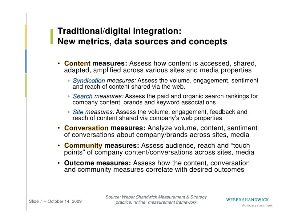 Traditional/digital integration:               New metrics, data sources and concepts                             measures...