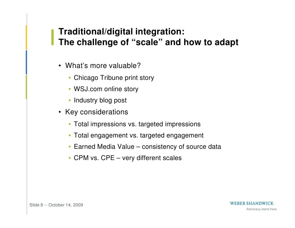 """Traditional/digital integration:               The challenge of """"scale"""" and how to adapt                • What's more valu..."""