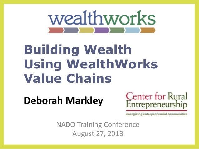 Deborah Markley NADO Training Conference August 27, 2013 Building Wealth Using WealthWorks Value Chains