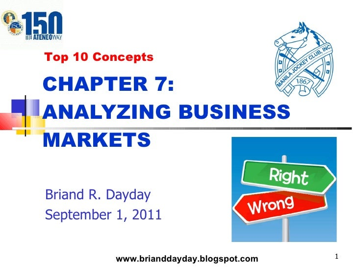 CHAPTER 7:  ANALYZING BUSINESS MARKETS Briand R. Dayday September 1, 2011 Top 10 Concepts www.brianddayday.blogspot.com
