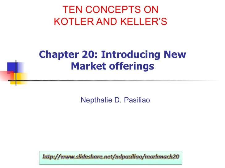 TEN CONCEPTS ON KOTLER AND KELLER'S Chapter 20: Introducing New Market offerings Nepthalie D. Pasiliao