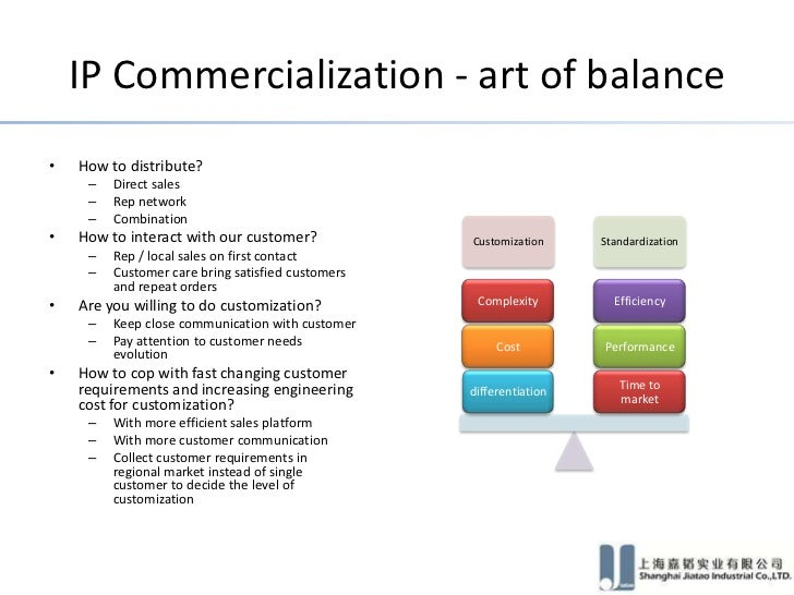 IP Commercialization - art of balance•   How to distribute?     –   Direct sales     –   Rep network     –   Combination• ...