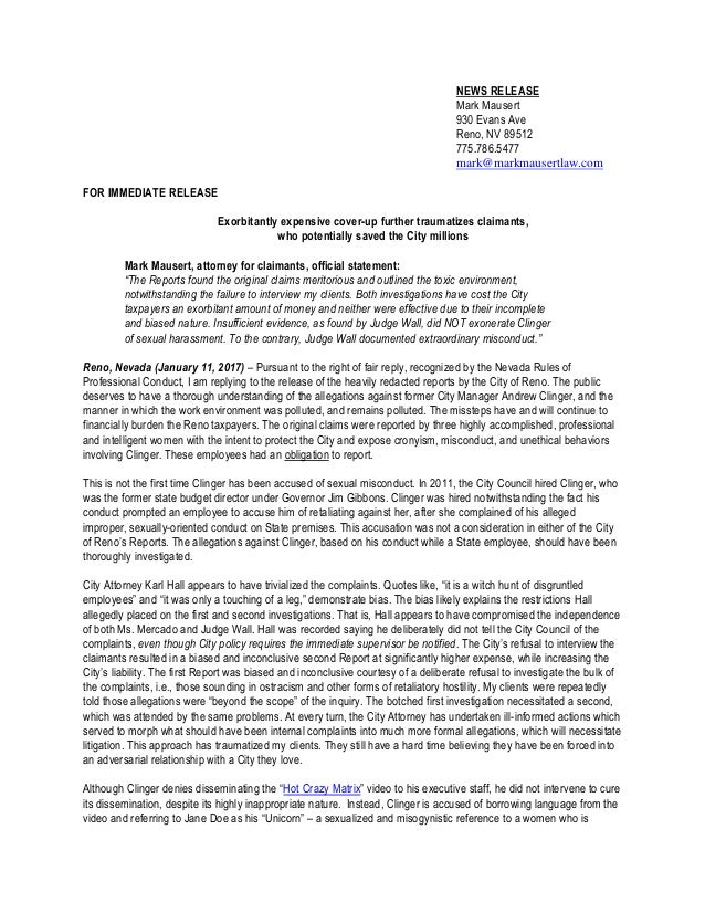 letter of rebuttal template - mark mausert rebuttal to city of reno investigations