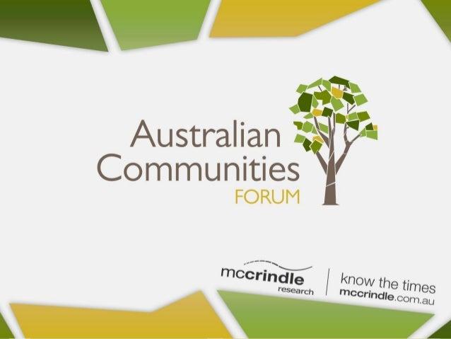 Mark McCrindle Communities Inspired Presentation Australian Communities Forum