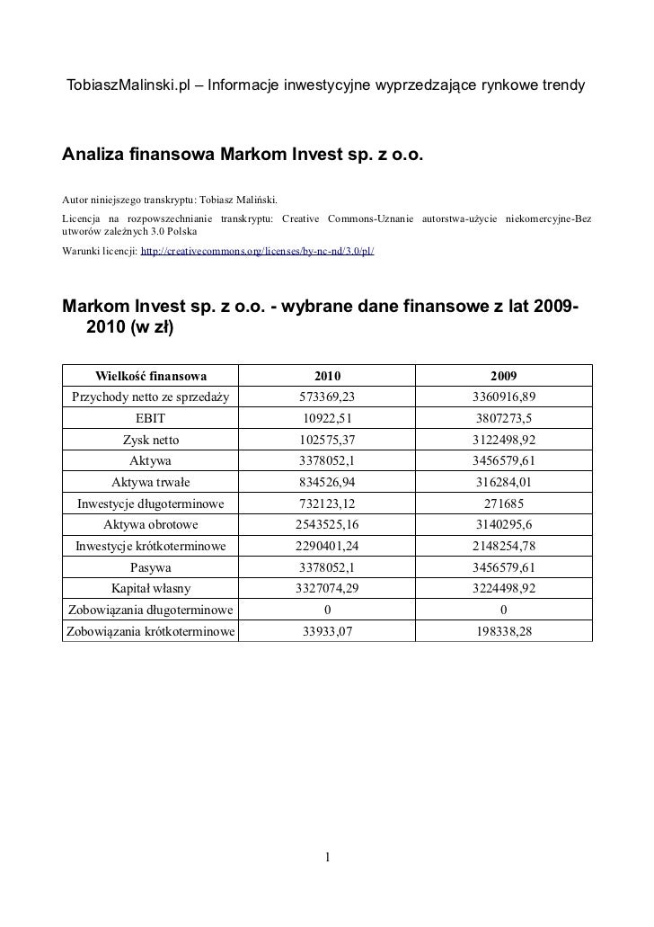 TobiaszMalinski.pl – Informacje inwestycyjne wyprzedzające rynkowe trendyAnaliza finansowa Markom Invest sp. z o.o.Autor n...