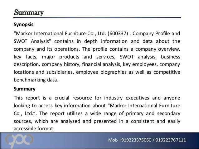Company profile and swot analysis on