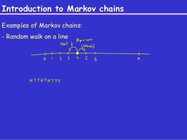 Introduction to Markov chains  Examples of Markov chains:  - Random walk on a line