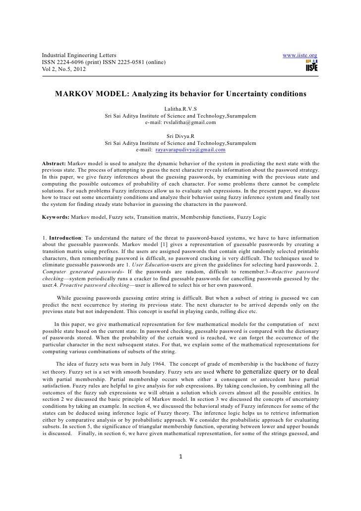 Industrial Engineering Letters                                                                        www.iiste.orgISSN 22...