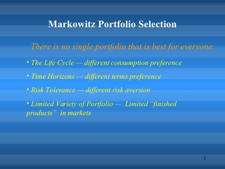 portfolio selection An overview of asset pricing models andreas krause  the portfolio selection theory  38 the optimal portfolio with a riskless asset.