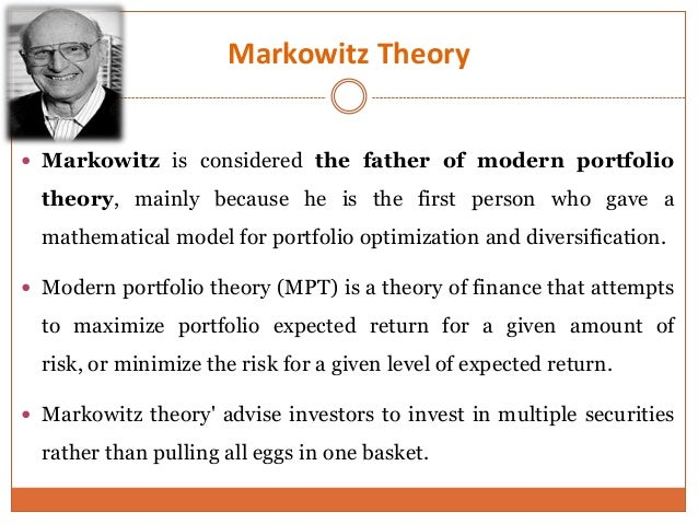 markowitz portfolio optimization essay The markowitz efficient set is a portfolio with returns that are maximized for a given level of risk based on mean-variance portfolio construction.
