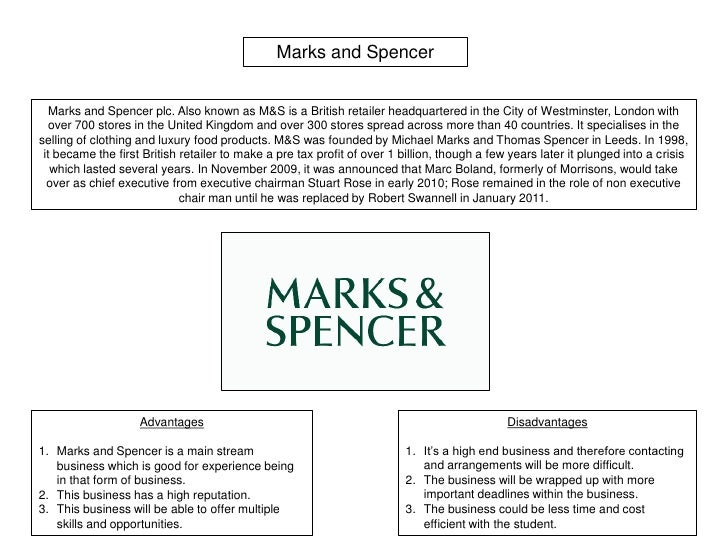 mark and spencers research According to recent research undertaken by the company, it shows that, in clothing, mark and spencer has a clear lead over all its major show more more about market analysis for marks & spencers.