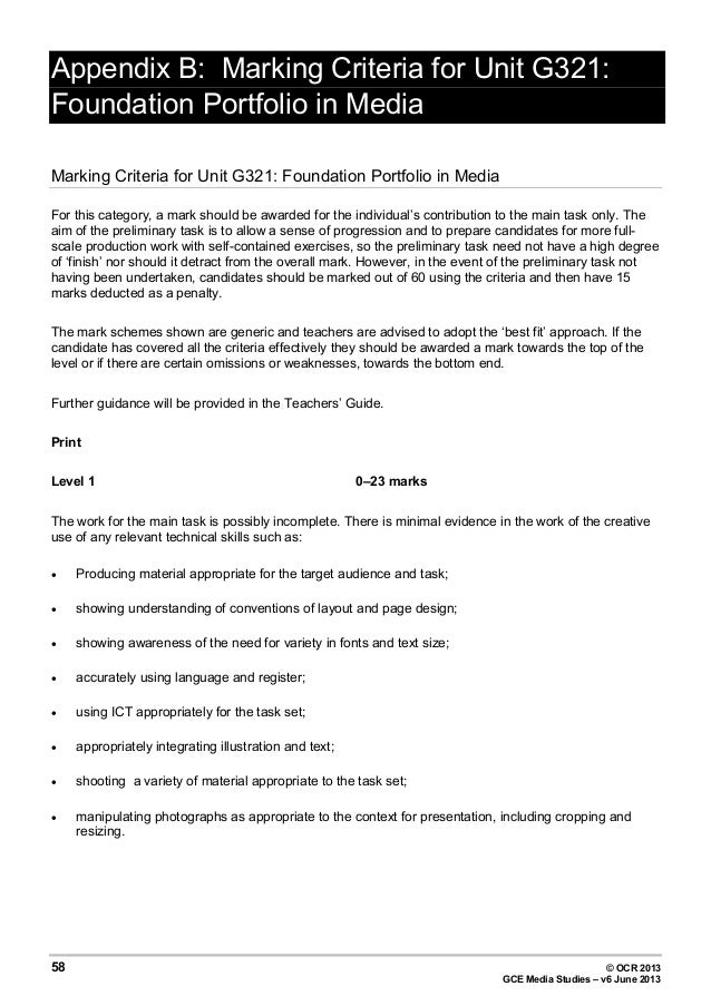 ocr media a2 coursework mark scheme