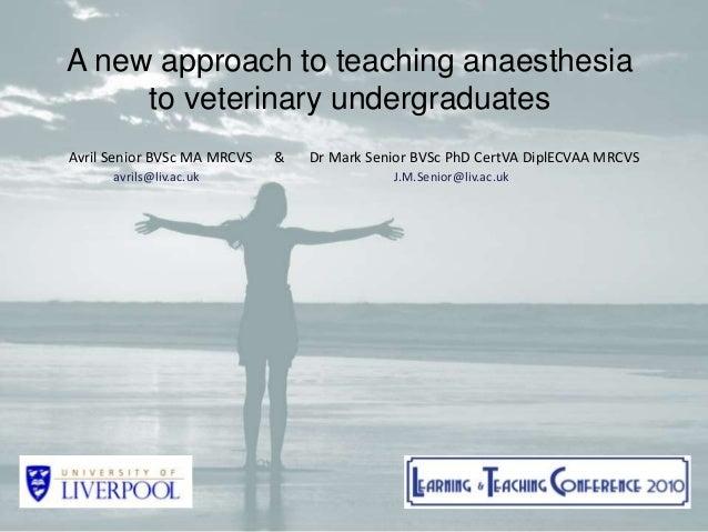 Equine anaesthesia in the field... Dr Mark Senior BVSc PhD CertVA DiplECVAA MRCVS Philip Leverhulme Equine Hospital Univer...