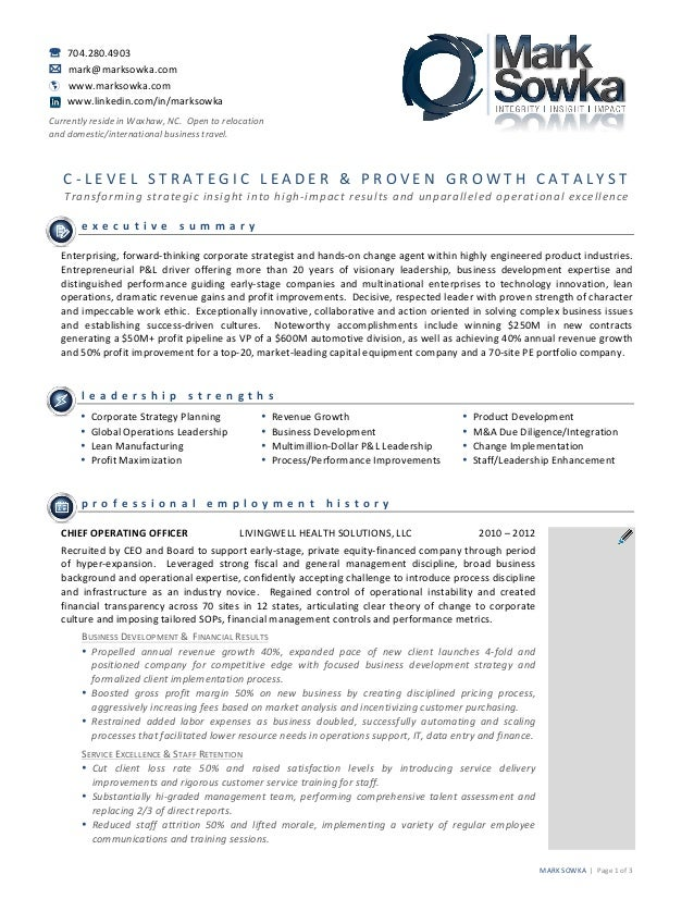 Award winning resume for Mark Sowka, client of Emprove Performance Gr…