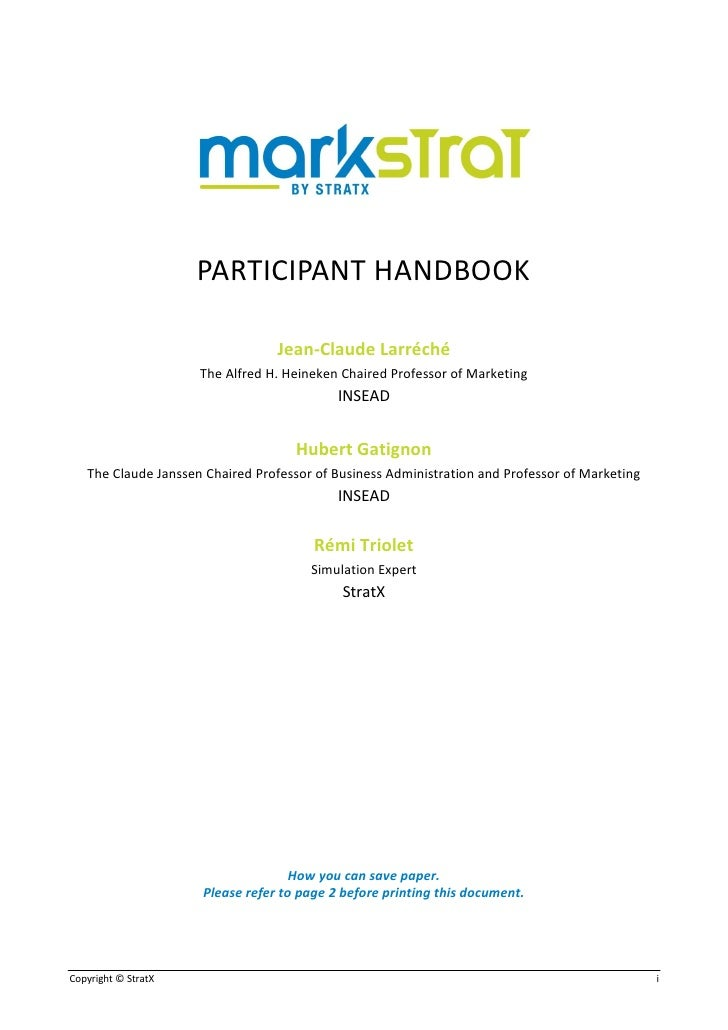 markstrat final report Markstrat main window  report and analysis modules  the overall objective of the simulation is to maximise your spi and your final mark will be based on this.