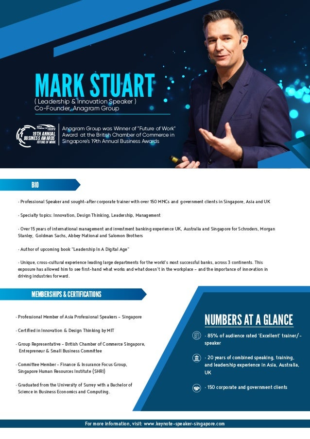 • Professional Speaker and sought-after corporate trainer with over 150 MNCs and government clients in Singapore, Asia and...