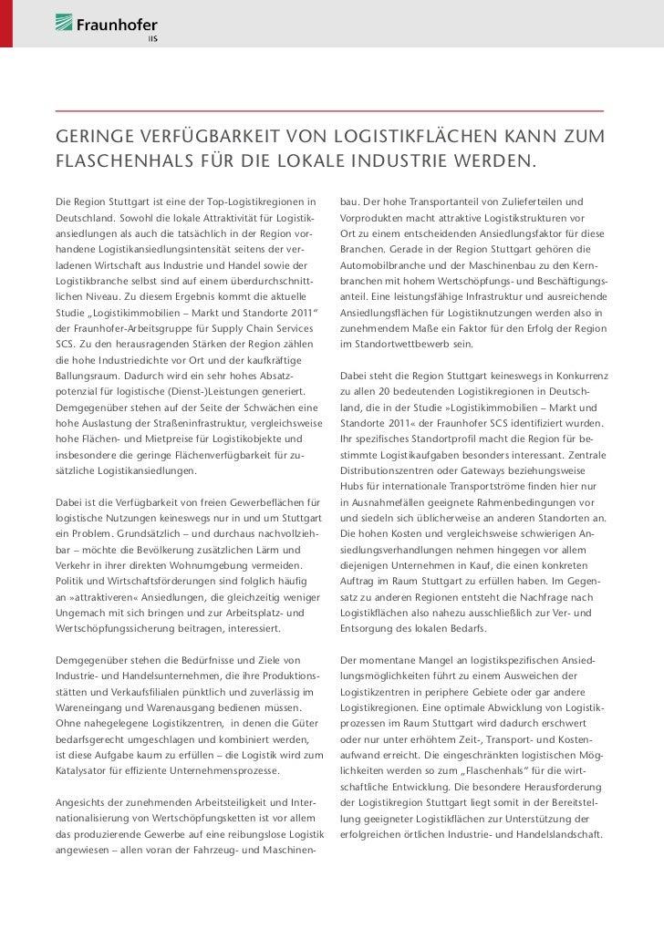 Geringe Verfügbarkeit von Logistikflächen kann zumFlaschenhals für die lokale Industrie werden.Die Region Stuttgart ist ei...