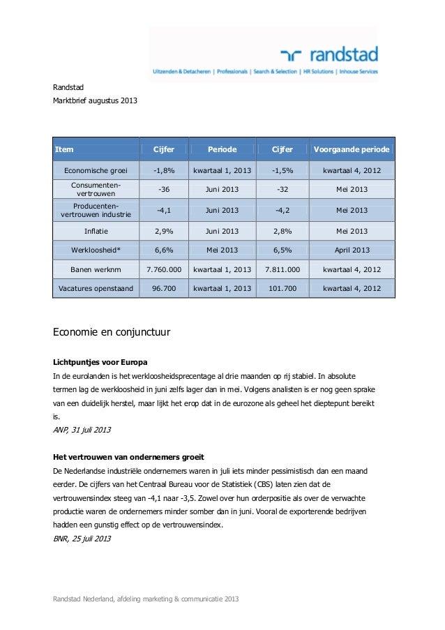 Randstad Nederland, afdeling marketing & communicatie 2013 Randstad Marktbrief augustus 2013 Item Cijfer Periode Cijfer Vo...