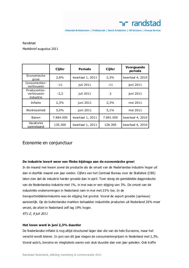 RandstadMarktbrief augustus 2011                                                                          Voorgaande      ...