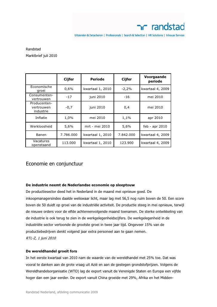Marktbrief Juli 2010