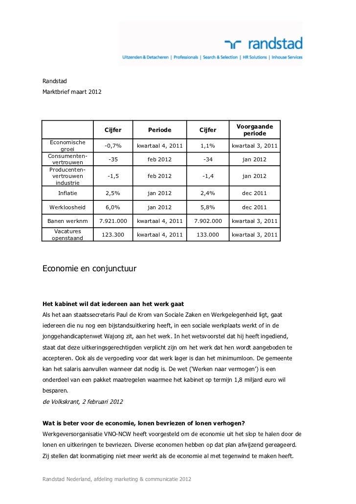RandstadMarktbrief maart 2012                                                                          Voorgaande         ...