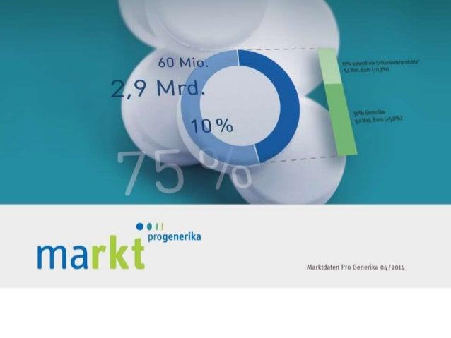 2 MARKT IM ÜBERBLICK Kapitel 1 | Marktdaten von Pro Generika 04/2014