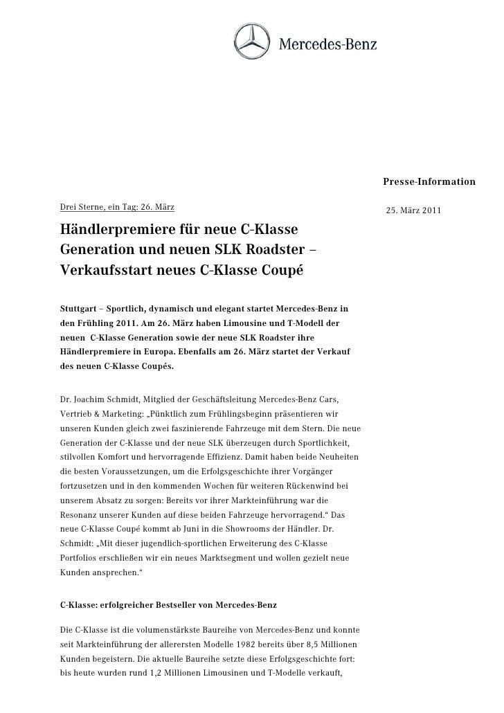 Presse-InformationDrei Sterne, ein Tag: 26. März                                                  25. März 2011Händlerprem...