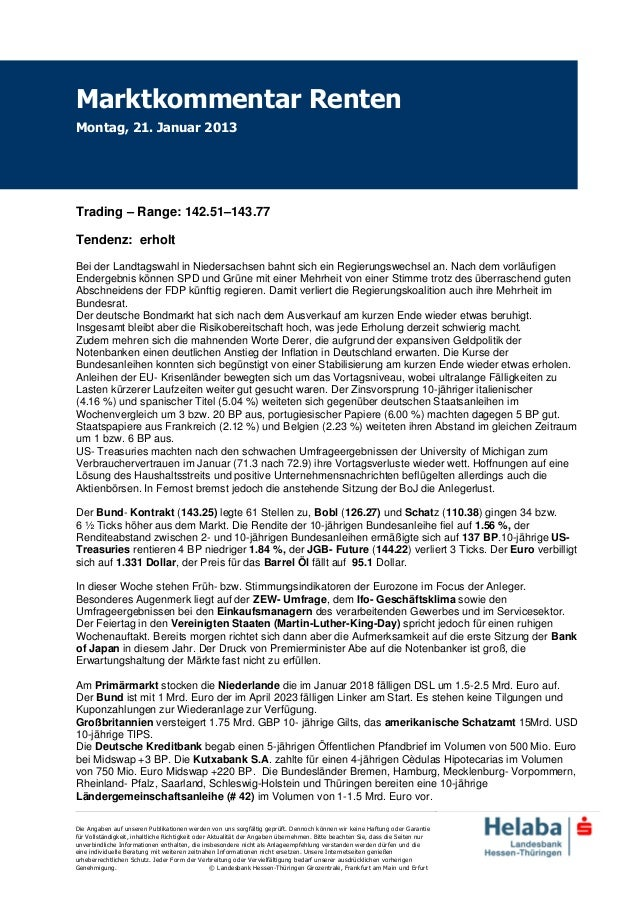 Marktkommentar RentenMontag, 21. Januar 2013Trading – Range: 142.51–143.77Tendenz: erholtBei der Landtagswahl in Niedersac...