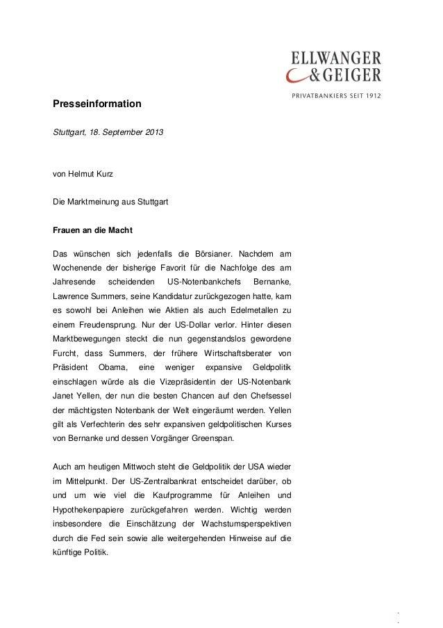 Presseinformation . . Stuttgart, 18. September 2013 von Helmut Kurz Die Marktmeinung aus Stuttgart Frauen an die Macht Das...