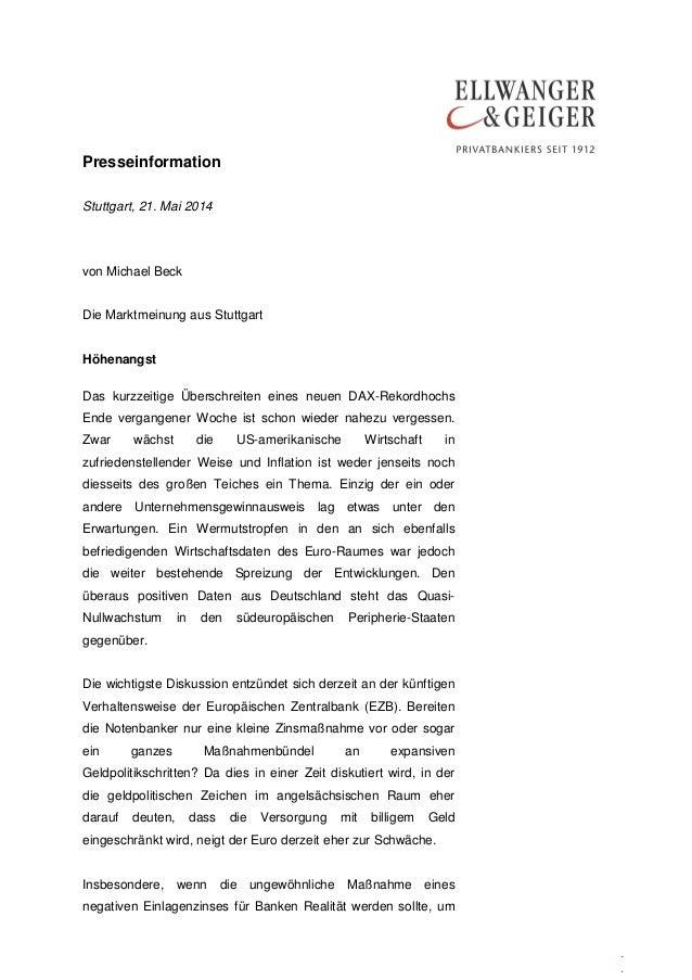 Presseinformation . . Stuttgart, 21. Mai 2014 von Michael Beck Die Marktmeinung aus Stuttgart Höhenangst Das kurzzeitige Ü...