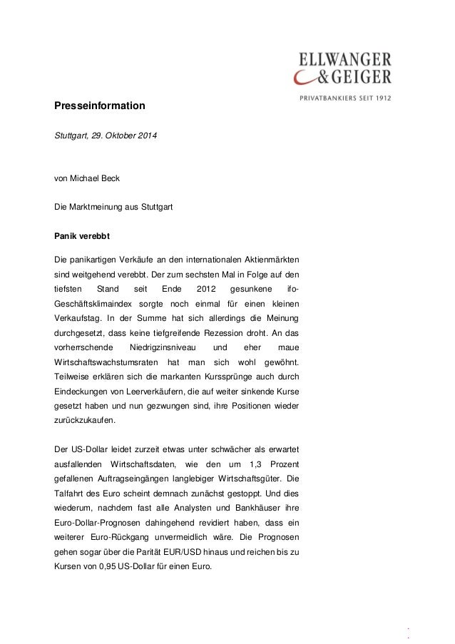 Presseinformation  .  .  .  Stuttgart, 29. Oktober 2014  von Michael Beck  Die Marktmeinung aus Stuttgart  Panik verebbt  ...