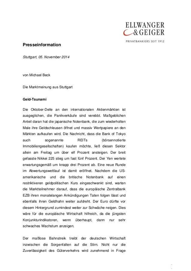 Presseinformation  .  .  .  Stuttgart, 05. November 2014  von Michael Beck  Die Marktmeinung aus Stuttgart  Geld-Tsunami  ...