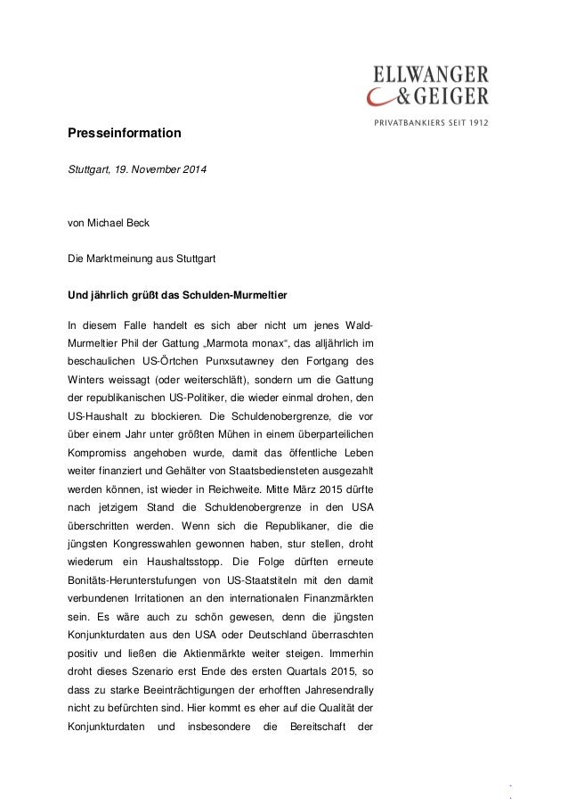 Presseinformation  .  .  .  Stuttgart, 19. November 2014  von Michael Beck  Die Marktmeinung aus Stuttgart  Und jährlich g...