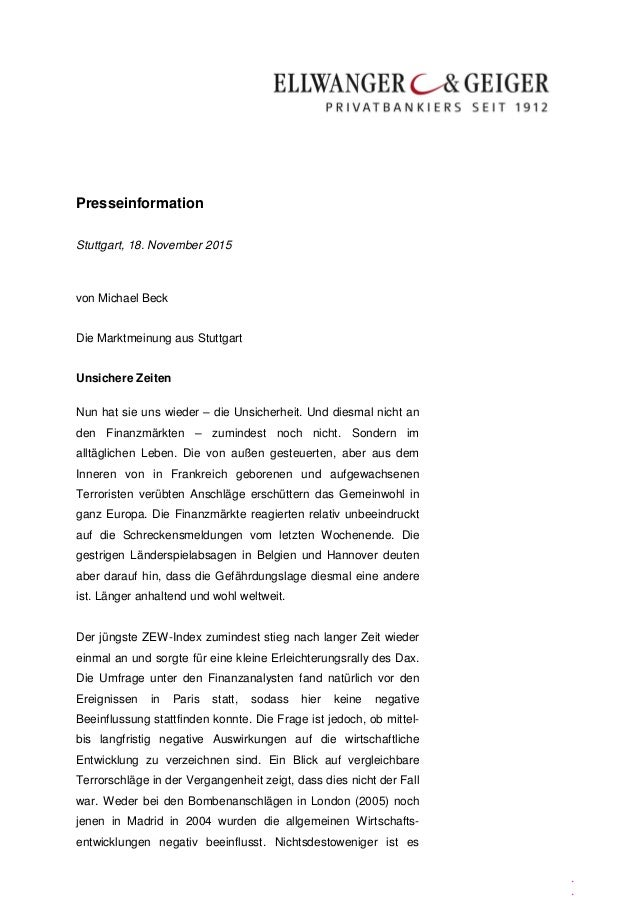 Presseinformation . . Stuttgart, 18. November 2015 von Michael Beck Die Marktmeinung aus Stuttgart Unsichere Zeiten Nun ha...