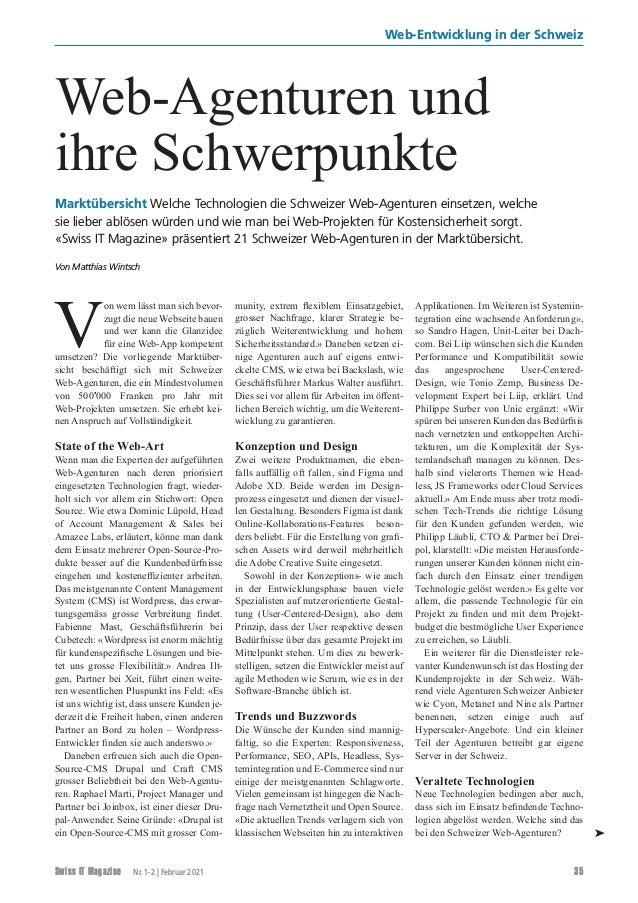 Swiss IT Magazine Nr. 1-2   Februar 2021 35 Web-Entwicklung in der Schweiz V on wem lässt man sich bevor- zugt die neue W...