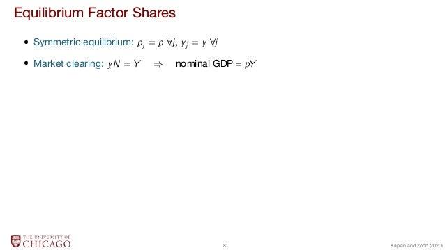 Equilibrium Factor Shares  Symmetric equilibrium: pj = p 8j, yj = y 8j  Market clearing: yN = Y ) nominal GDP = pY 8 Kapla...